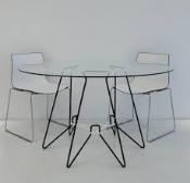 Modern Mushroom Dining Table Glass and Metal