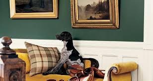 The Lounge, British Green and Wainscoting panels and of course the horse saddle and hound - Horse n' Hound!