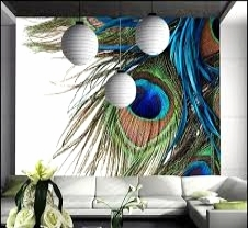 Modern Wall Mural with play on colour from the Green Blue Peacock Feather.....Good Design Form!