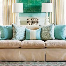 Pillow Arrangement in Blue-tones.