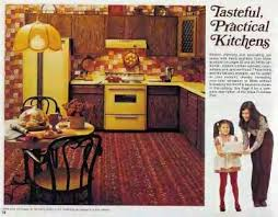 The hub of the home...the Golden Kitchen. I forgot about how the kitchen trend then was also carpeted floors!