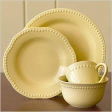 Yellow Dishes, not to beige as they will look dirty in the yellow layering mix of accents.
