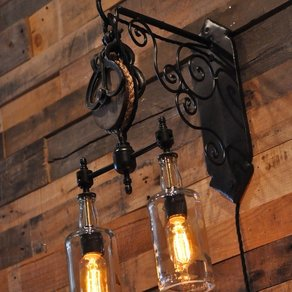 Gear Sconce with recycled bottles!