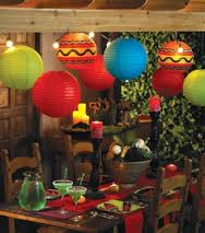 I think of evenings in Mexico, with lots of bold colour, candles...so this idea of incorporating the other thing I love....paper lanterns seems appropriate!