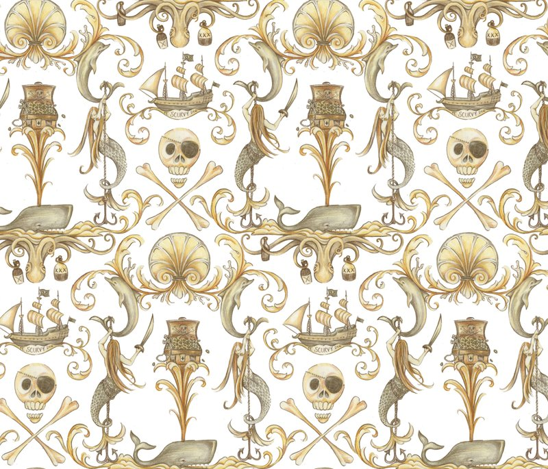 Spoonflower, Rococo & A bottle of Rum