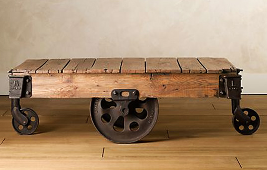 The cart coffee table, by Restoration Hardware.