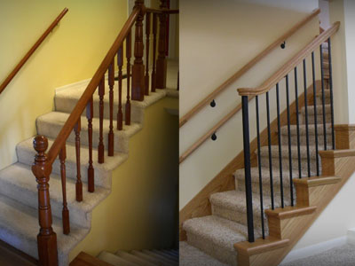 Before on the Left, and Renovation upgrade on the Right. By the Portland Stair Co.