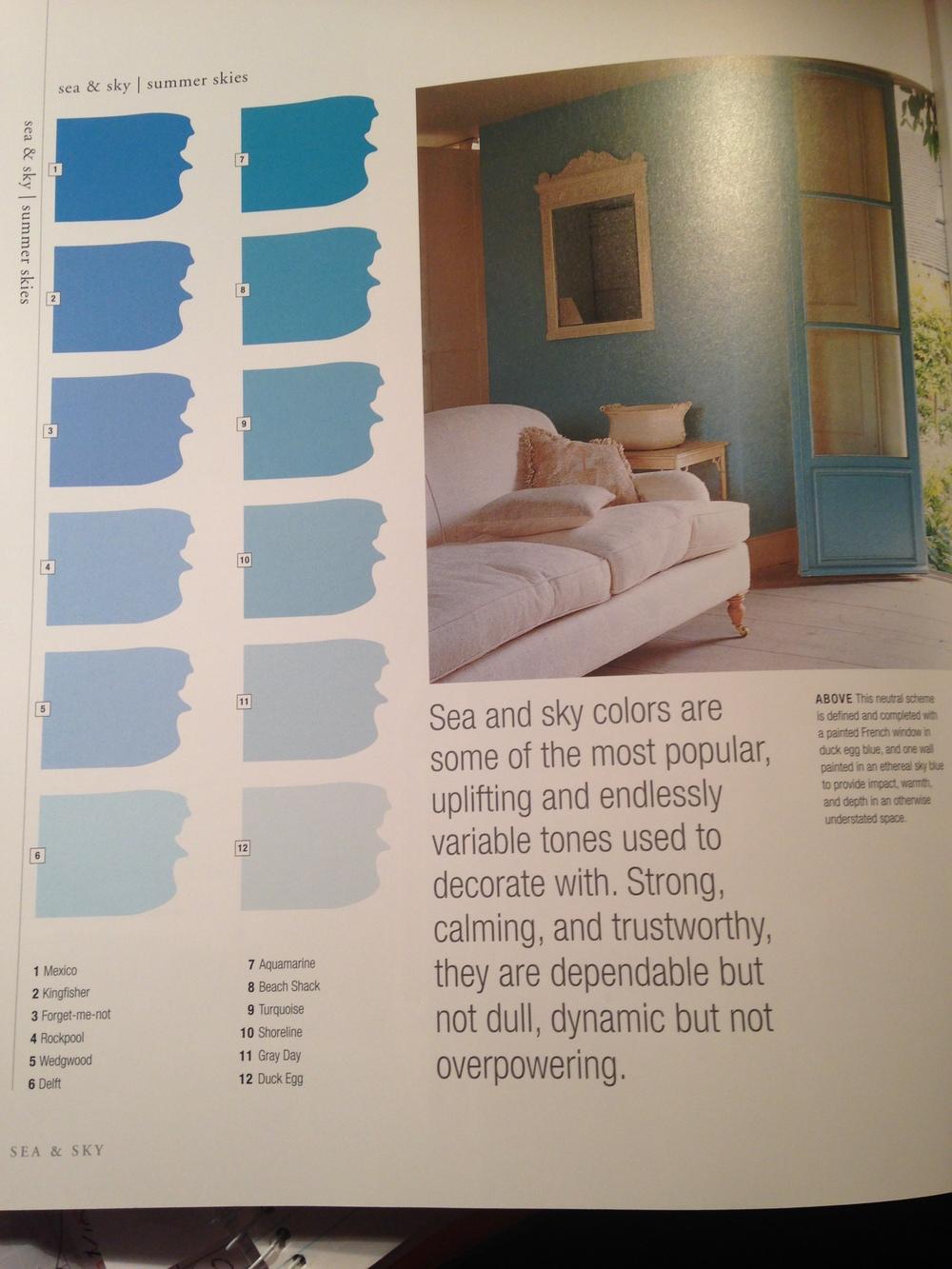 Blue Sea to Sky - colour breakdown