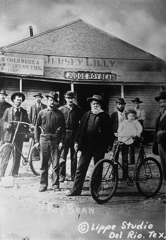Roy Bean and posse outside the Jersey Lilly Saloon. Langtry, Texas - circa 1900.