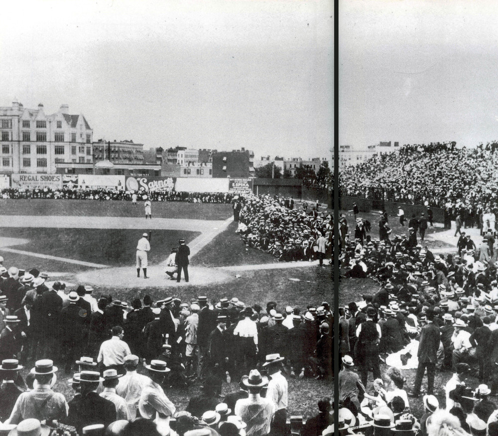 Spectators creating the boundary at an early New York Highlanders game - New York, NY circa 1903.