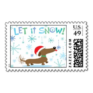 Christmas Dachshund Stamp