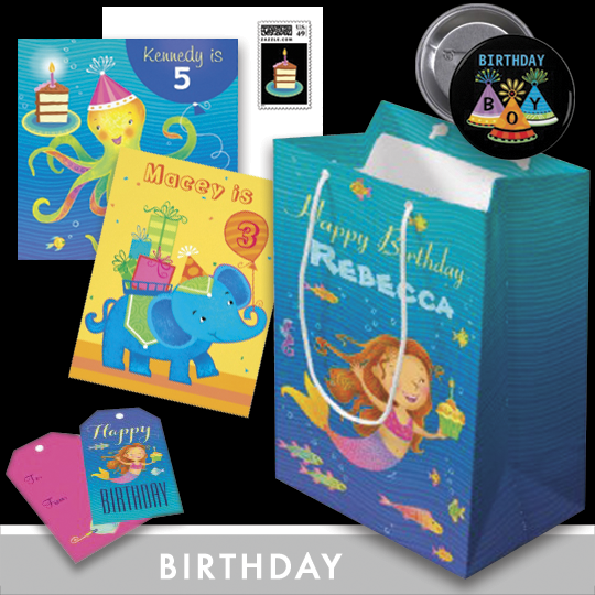 Custom Birthday Photo Cards, Thank You's, gift bags, Gift Wrap and Party Ware for any birthday celebration.