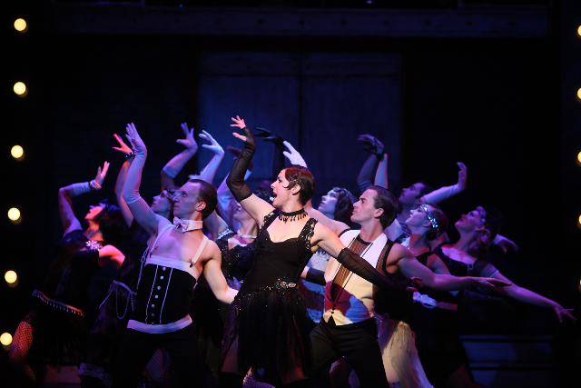 Chicago, Mayfield Hotel, 2011, Photo by Ed Ellis, Set and Costumes by Cory Laframboise, Lighting by Michael Kruse, centre is Sara-Jeane Hosie as Velma Kelly