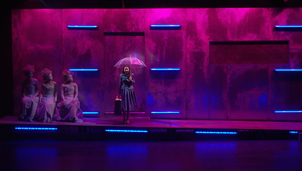 Eurydice by Sarah Ruhl, Soulpepper Theatre, Director:  Alan Dilworth, Set and Costume Design:  Lorenzo Savoini, Lighting Design:  Kim Purtell, Sound Design:  Debashis Sinha, Actors:  Michelle Monteith, Courtney Ch'ng Lancaster, Oyin Oladejo,