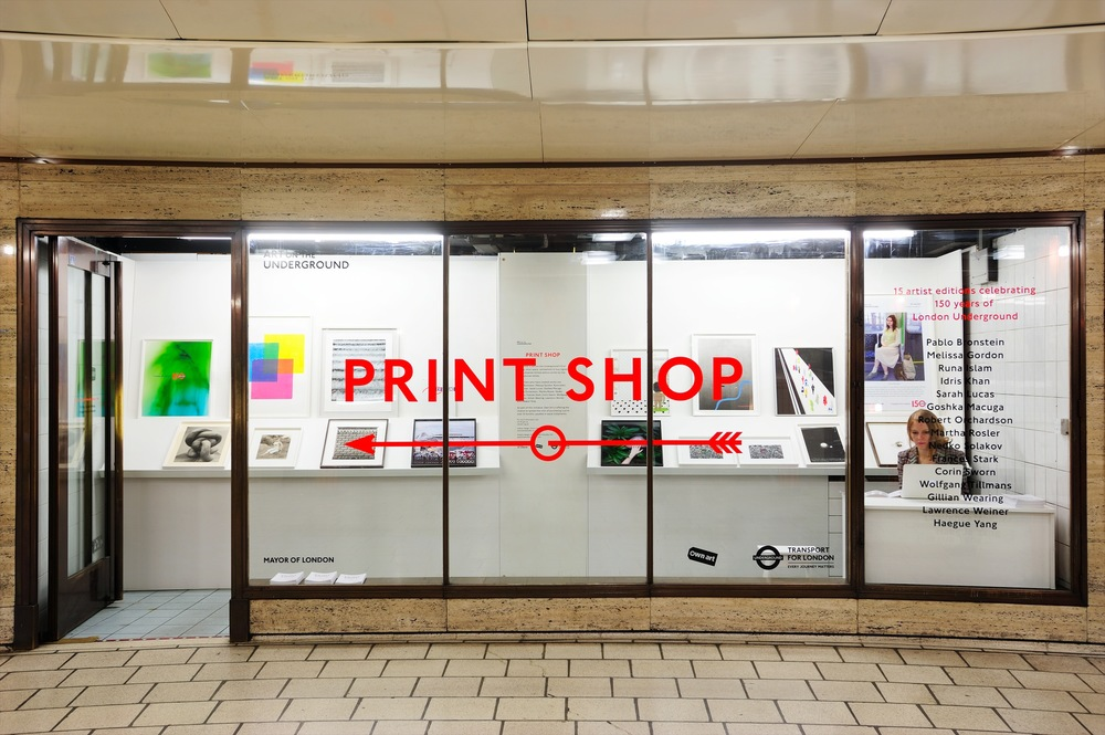Print Shop  April 2014  We  designed, fabricated & installed the fit-out at The Print Shop in Piccadilly Circus Underground Station concourse, a temporary store to celebrate 150 years of  Art on the Underground . Open from 8th - 19th April.  Further details  here .