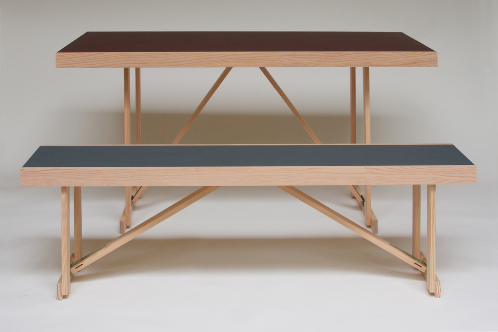 Douglas Fir & Linoleum Folding Bench & Table