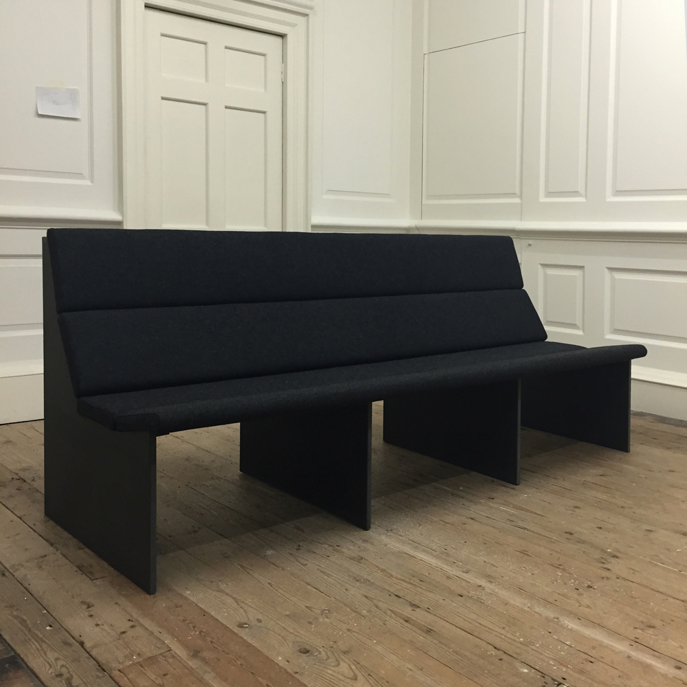The Inoperative Community - Raven Row December 2015 Upholstered benches that we designed and made to seat over 50 visitors to 'The Inoperative Community', the current exhibition of film and video at Raven Row, London on from 3 December 2015 - 14 February 2016.