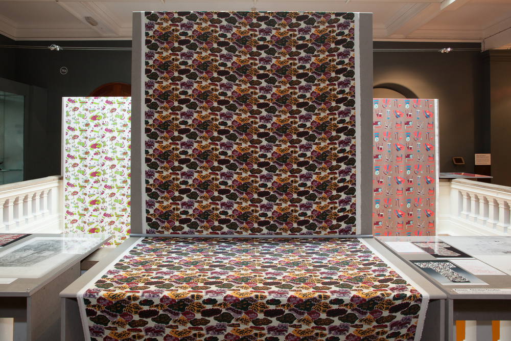 Place & Repeat - V&A   May 6th - 10th 2016  An exhibition installation we made showcasing fabric designed by six artists who were inspired by the V&A's collection as part of a fantastic project by Intoart.