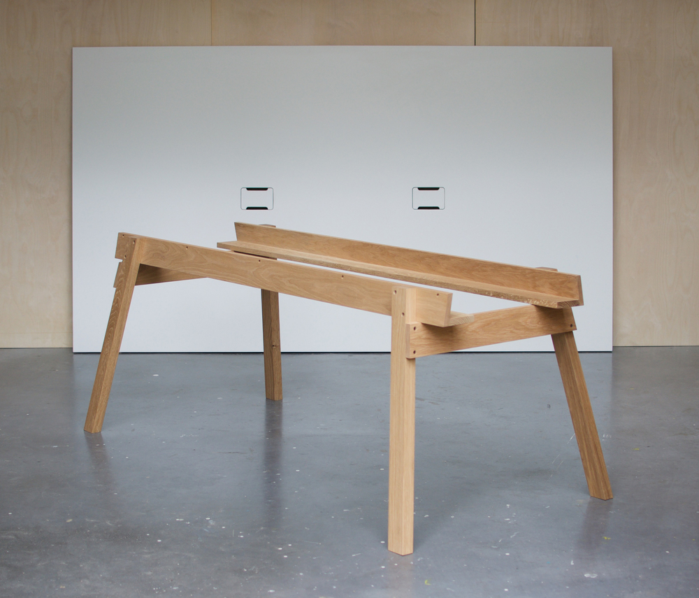 Work Table April 2016 An Oak Work Table with white laminate tabletop. 1.4m x 2.6m
