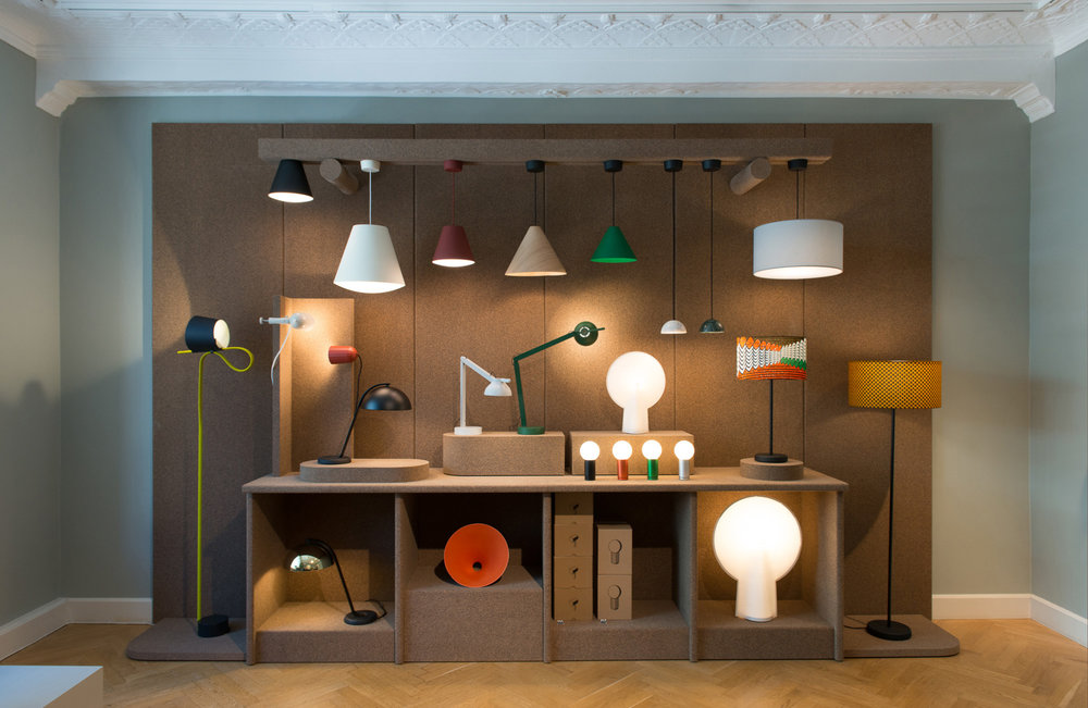Wrong London @ Hay House Copenhagen August 2016 We have developed the cork exhibition furniture we made for Wrong London into a lighting display wall for use in HAY stores. We installed versions in Amsterdam and this one in the flagship store in Copenhagen.
