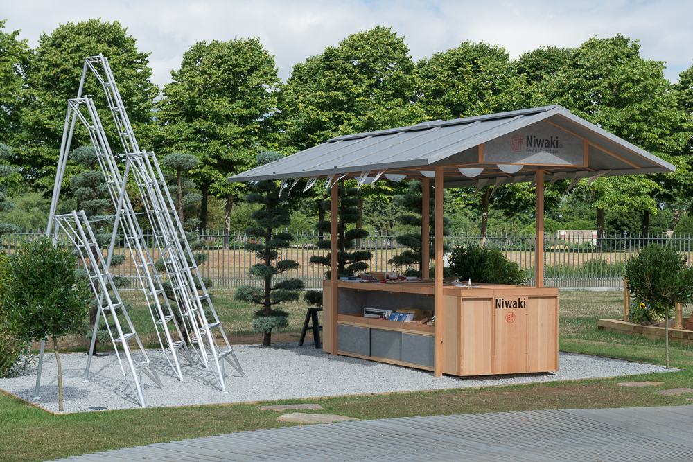Niwaki Pavilion, RHS Hampton Court Show   July 2017  The 2nd outing of our Douglas Fir and Fleece membrane clad pavilion designed and built for Niwaki at Hampton Court show  last week.