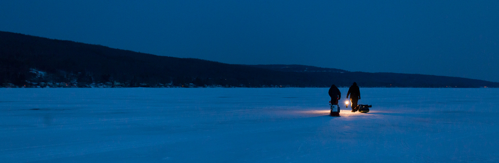 In search of low-key light portraits for my Working On Location class, I decided to try my luck finding ice fishermen on Saturday, Feb. 1, 2014, on Honeoye Lake, N.Y.