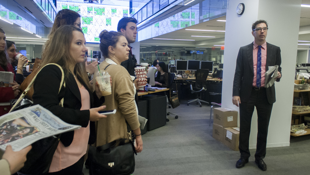 Jack VanAntwerp gives a tour of the news room at  The Wall Street Journal .