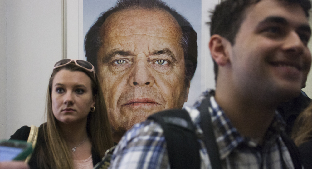 A larger than life portrait of Jack Nicholson hangs outside of the conference room.