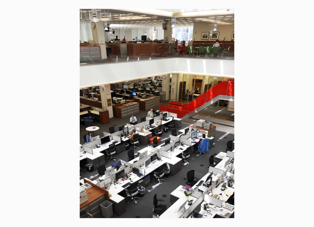 The New York Times news room.