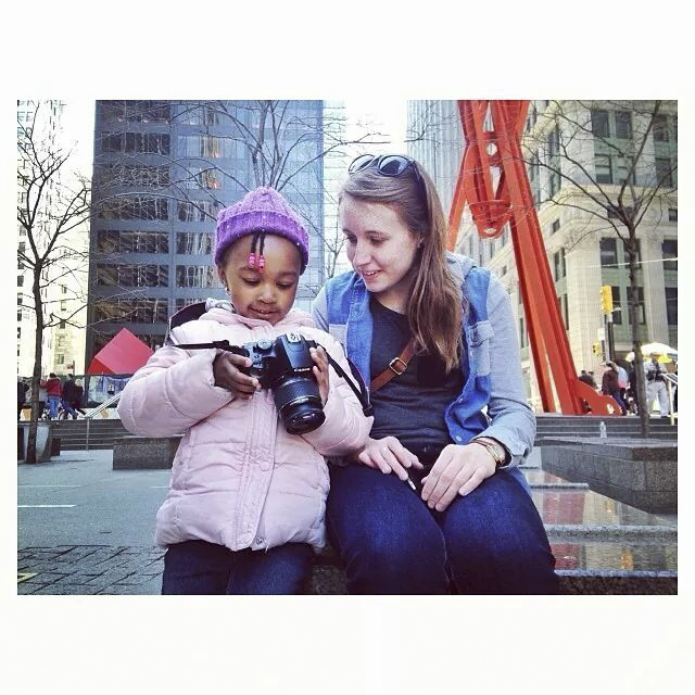 @rkaladyte teaches the next generation (of pigeon photographers) #nyc #ritpj #birdchasing #kids Photo credit: walker_niki