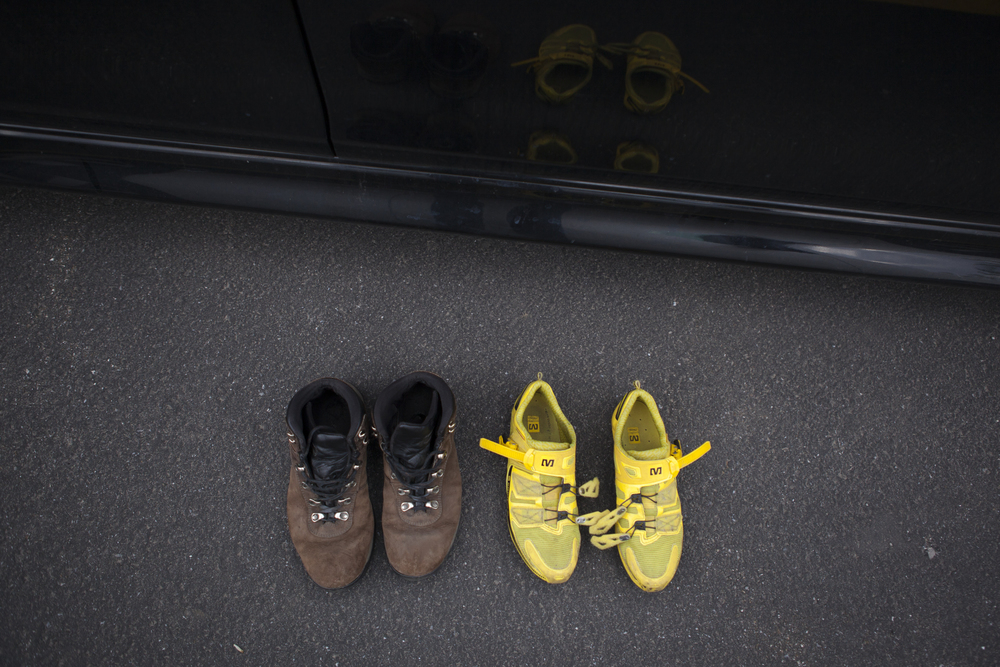 Ian Gielar's shoes sit outside Connor's car as he changes clothes.
