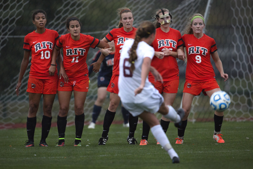 Emily Krebs #8 of Vassar College takes a penalty kick during a soccer game against the RIT Tigers at Tiger Stadium on Friday, Oct. 3, 2014 in Henrietta, N.Y. RIT and Vassar College tied 1-1.