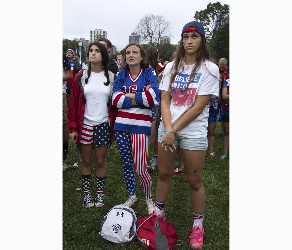 U.S. soccer fans watch the Women's World Cup U.S. vs. Germany game at a viewing party on Tuesday, June 30, 2015, in Chicago's Lincoln Park. After a 2-0 win, the U.S. Women head to the World Cup final for a record fourth time.