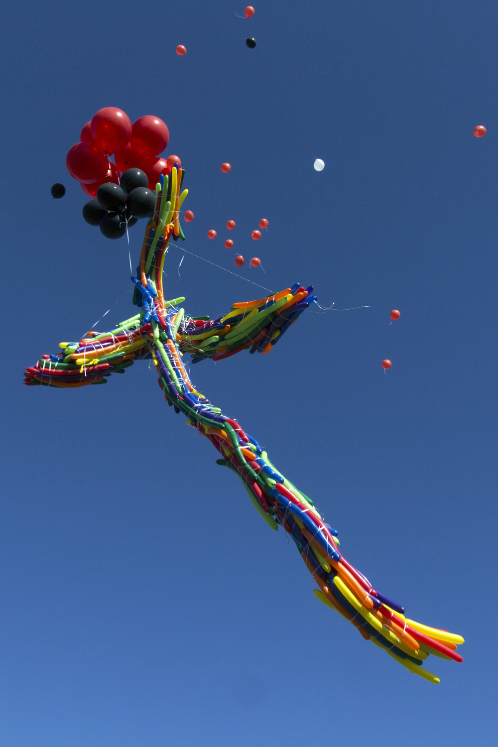 A cross made up of long, thin balloons is released with hundreds of smaller ones.