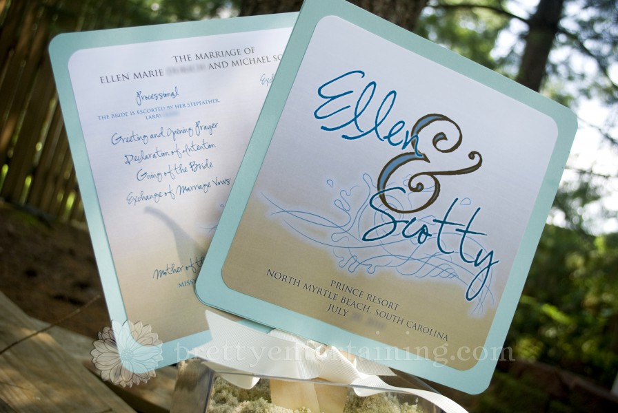 Beachy paddle fan wedding programs for ellen scotty pretty entertaining washington dc for Wedding paddle fans