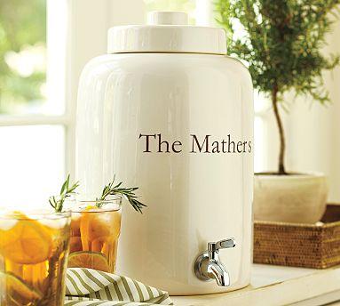 Pottery Barn Ceramic Monogrammable Drink Dispenser