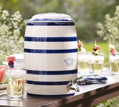 Pottery Barn Ceramic Stripe Drink Dispenser