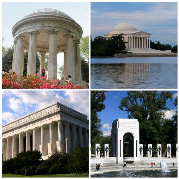 DC War Memorial, Jefferson Memorial, Lincoln Memorial, WWII Memorial