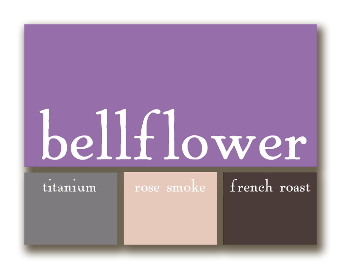 wedding palette featuring bellflower (purple), titanium (grey), rose smoke (pale pink), and french roast (chocolate brown)