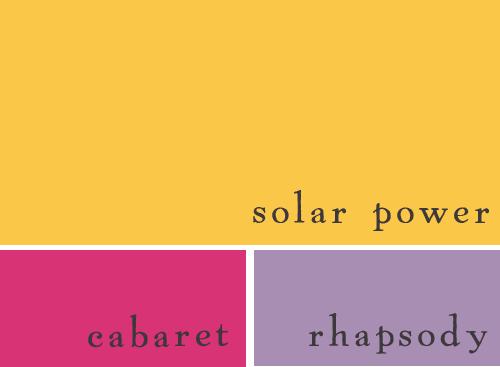 solar power cabaret rhapsody yellow pink lavender wedding palette
