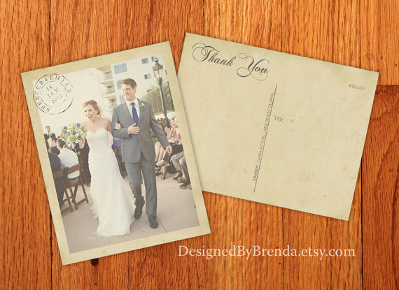 100 Vintage Wedding Thank You Postcards with Postmark - Printed on 100 lb. Recycled Matte Card Stock - Free Shipping
