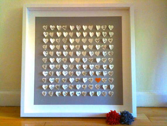 Wedding Guestbook Alternative - Personalized 3D Wedding Hearts - LARGE guest book (includes frame, instruction card and two pens)