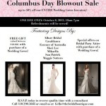 columbus day sale at the bridal boutique