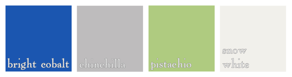 blue, grey, green and white wedding color palette