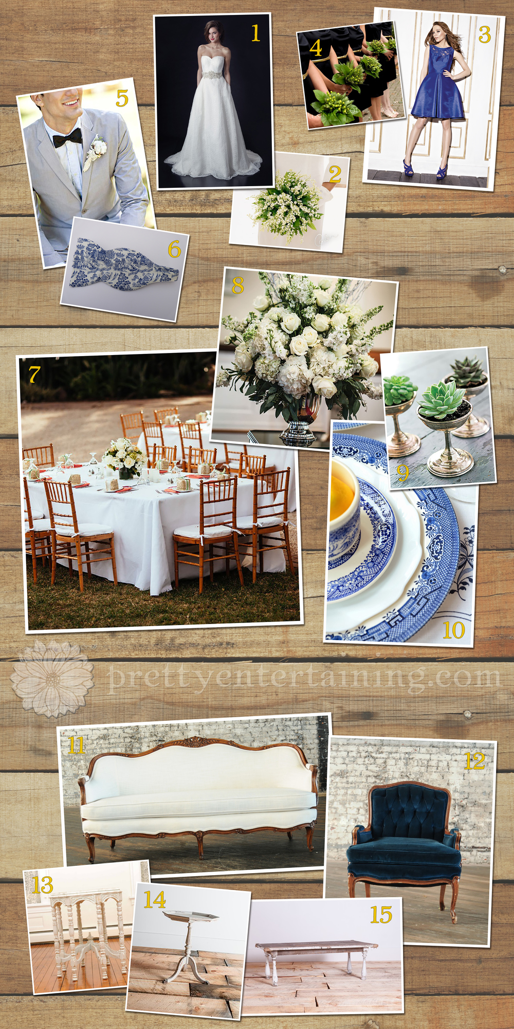 blue, grey, green, and white wedding inspiration board