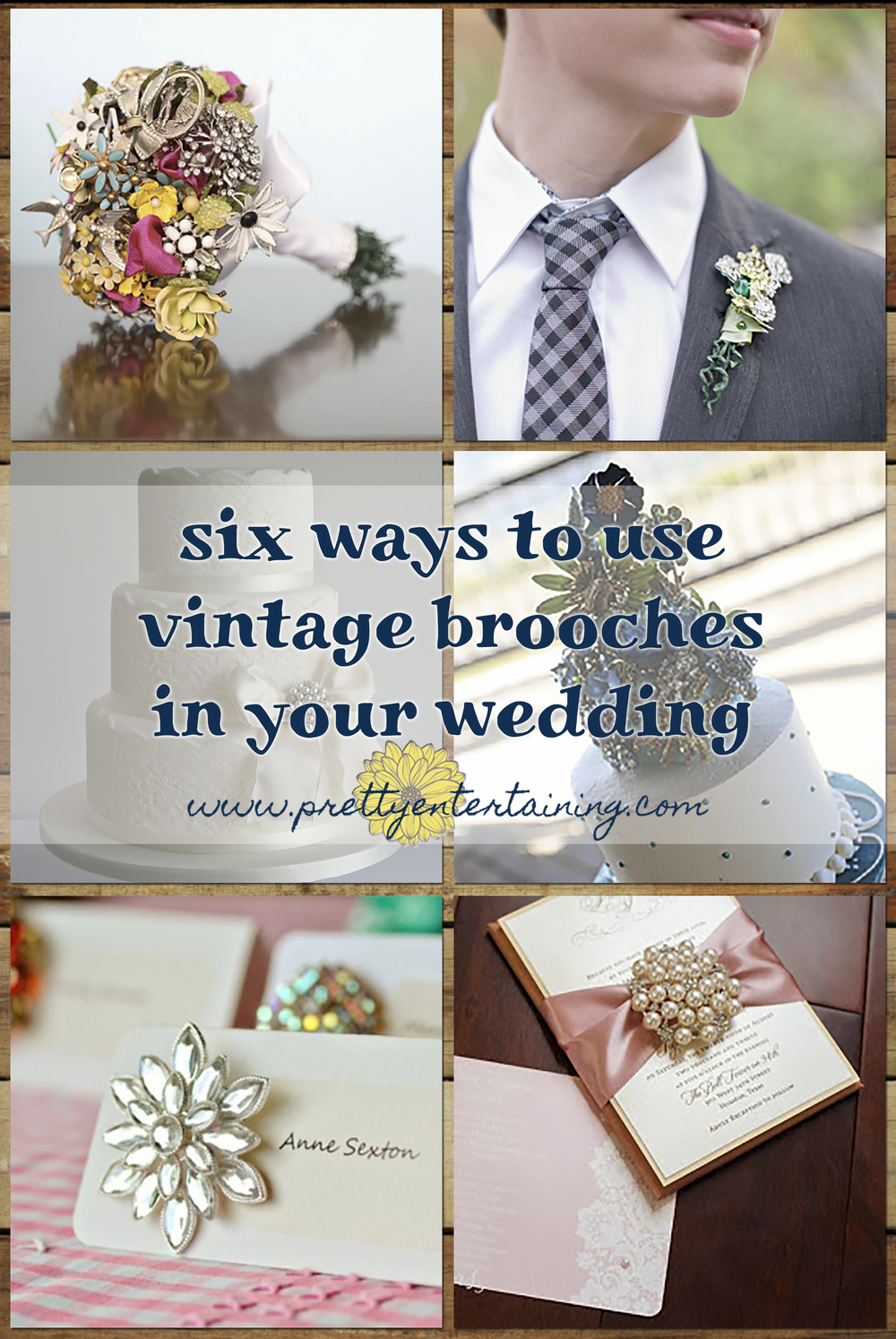 six ways to use vintage brooches in your wedding