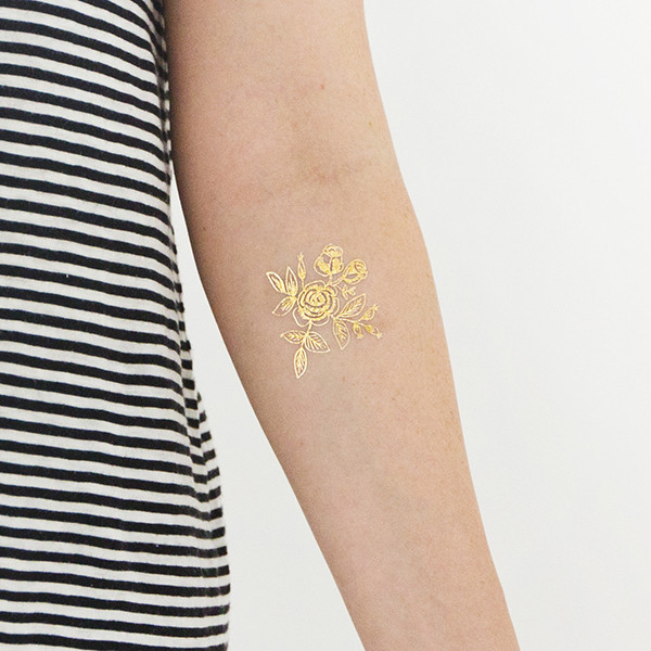 Gold Floral temporary tattoo by Tattly, designed by Rifle Paper Company
