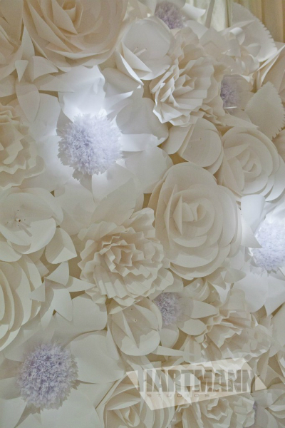 white paper flower wall by hartmann studios