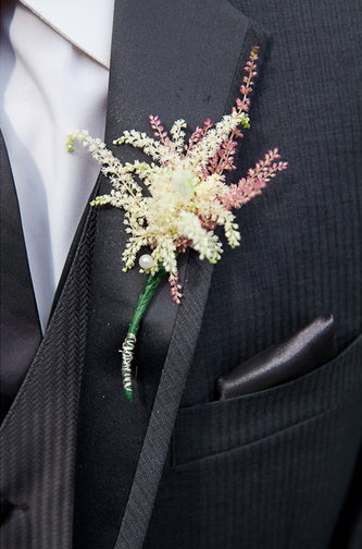 astilbe wedding boutonniere by gemini flowers, concord, ontario, canada