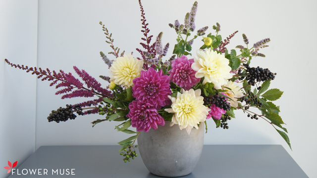 centerpiece arrangement featuring astilbe by flower muse, los angeles, california